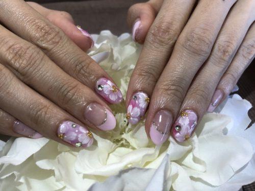 手描きの桜ネイル