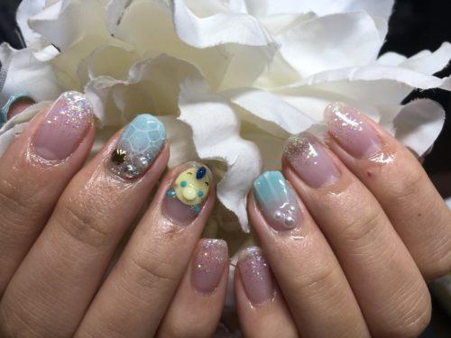 夏ネイル〜ツムツムフランダー