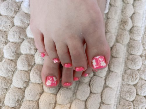 フット☆ピンクでお花!