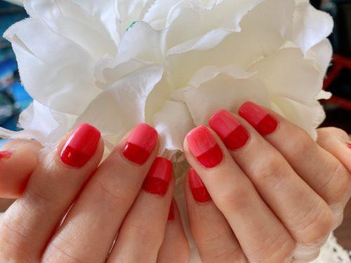 ピンクと赤のバイカラー